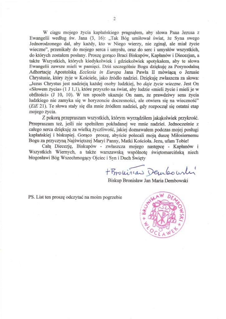 Ksiądz biskup Bronisław Dembowski - ostatni list 2