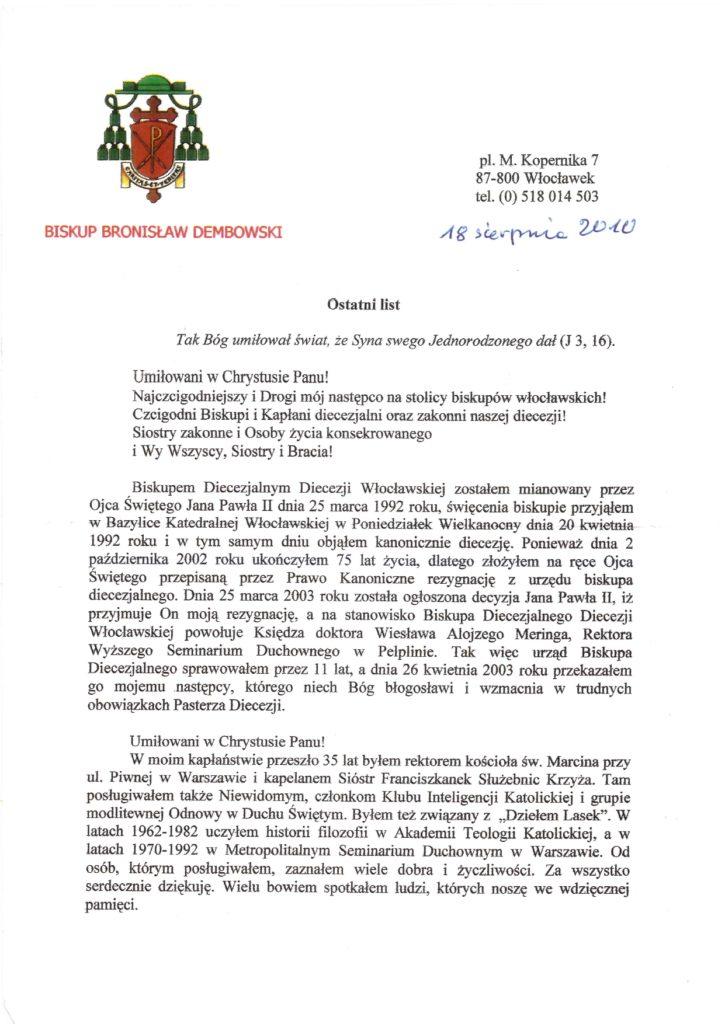 Ksiądz biskup Bronisław Dembowski - ostatni list 1